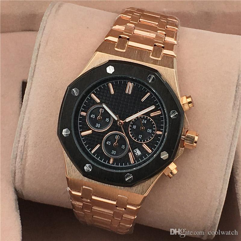 All Subdials Work Men Watches Good Quality Stainless Steel Quartz Wristwatches Luxury Watches Top Brand Relogies Best Gift For Men Stopwatch