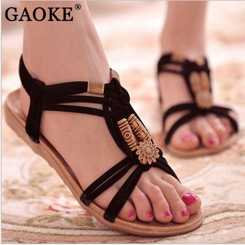 Gladiateur Chaussures Fashion Mujer Femmes Summer Plage Bandes Sandalias Noir Flip Chaîne Flops Plates Pour Perle Élastique Sandales Ow80kXnP