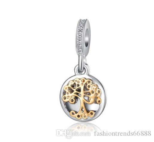 685afd9c71d5d Fits Pandora Charm Bracelet Tree of Life Pendant Gold Beads Sterling Silver  Dangle DIY Handmade Jewelry For Chamilia European Women Charms