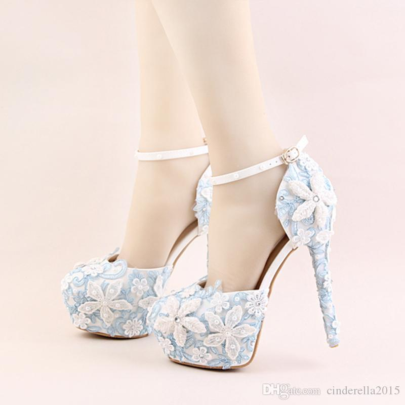 Newest designer blue lace shoes white flower bridal wedding shoes newest designer blue lace shoes white flower bridal wedding shoes imitation pearls high heels beautiful platform stiletto party prom pink shoes pumps shoes mightylinksfo