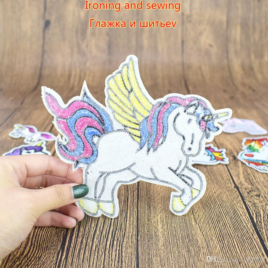 Unicorn Patches for Clothing Bags Iron on Transfer Applique Patch for Dress Jeans DIY Sew on Embroidery Kids Fancy Stickers