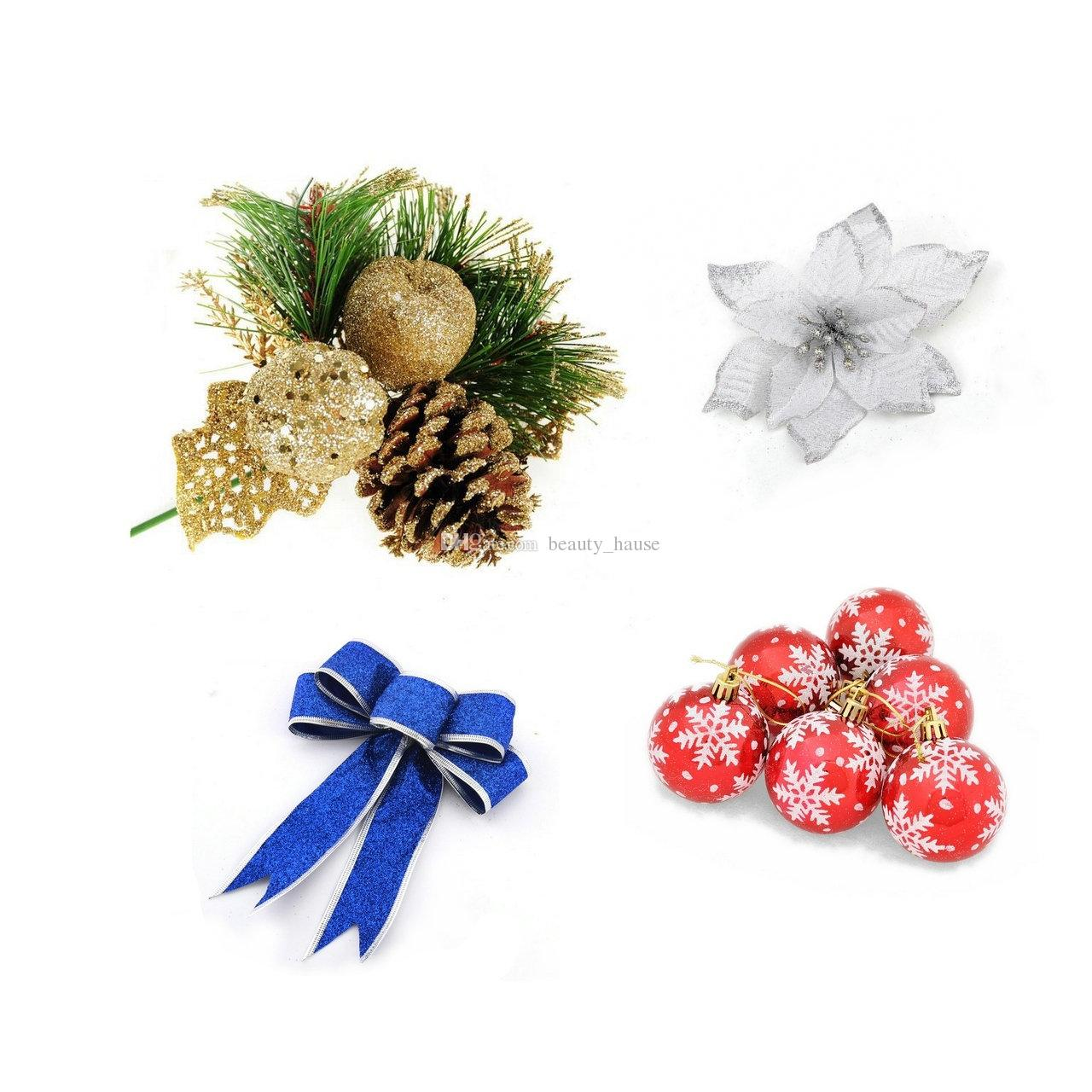 poinsettia christmas ballsartificial flowersbowknotspine cones ornaments for christmas tree decorations party supplies random color discount christmas - Poinsettia Christmas Tree Decorations