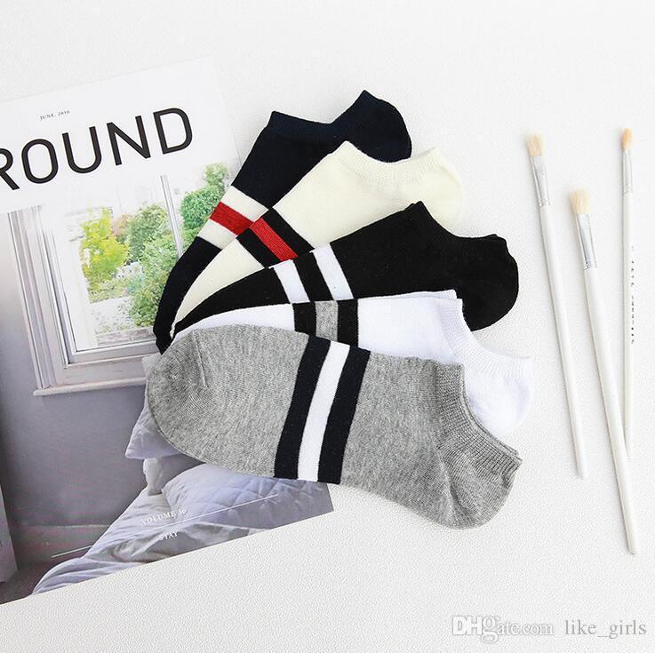 Новейшее прибытие Весна и летние полосатые мужские носки Ультратонкий дышащий низкий, чтобы помочь хлопчатобумажным мужчинам Sock NW022