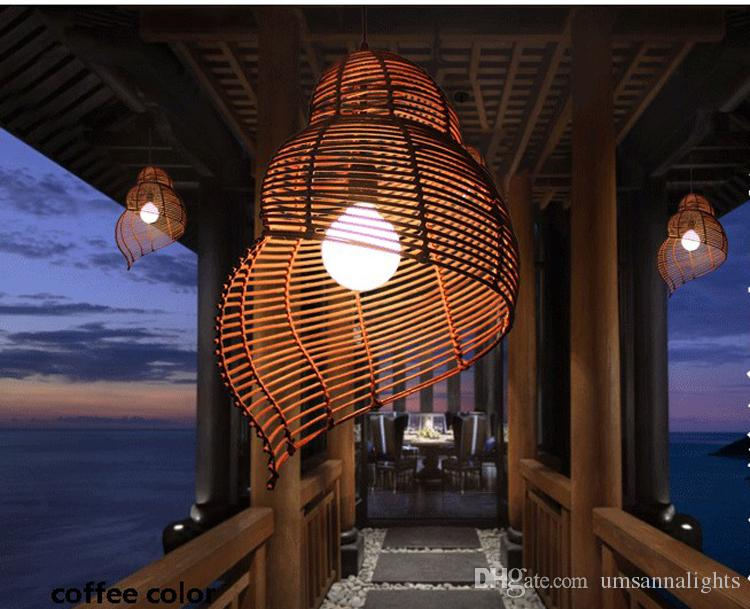 Rattan Pendant Lamps Modern Pastoral Escargots Pendant Lights Fixture Southeast Asian Snail Hotel Restaurant Dining Room Cafes Drop Light