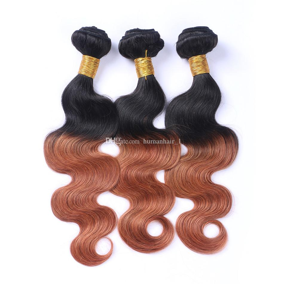 9A Brazilian Brown Ombre Virgin Human Hair Body Wave Weaves Extensions Two Tone 1B 30 Dark Roots Ombre Wavy Remy Hair Bundles