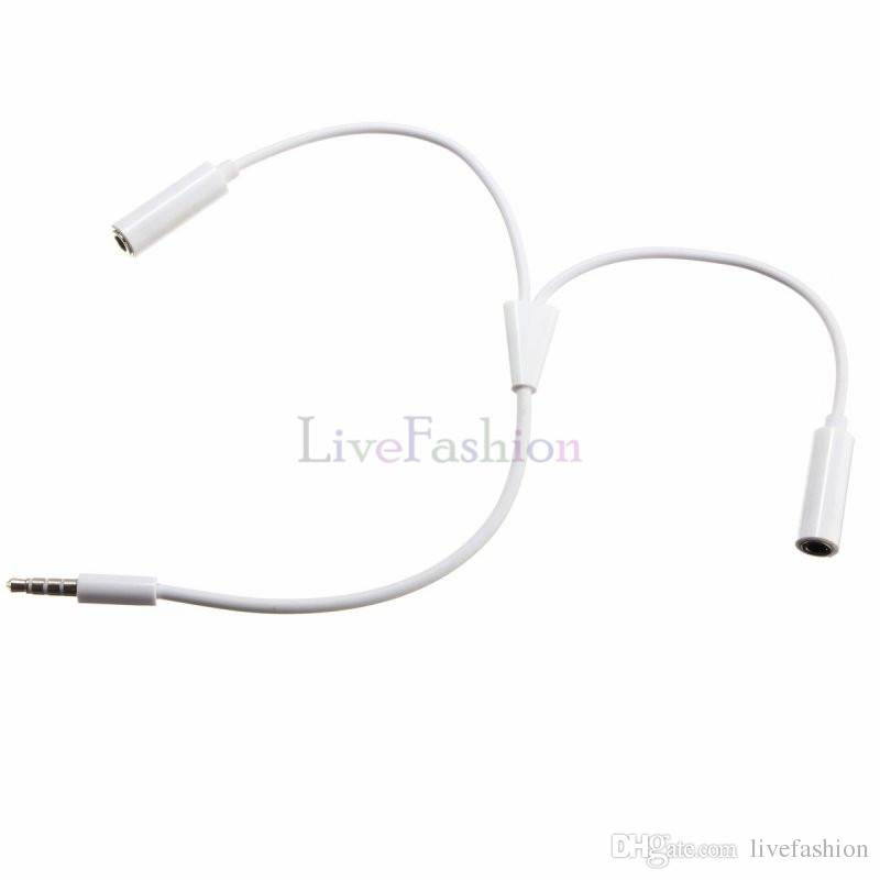 Universal 3.5mm Stereo Headphone Audio Cable Male Jack to 2 Double Female Mic Earphone Y Splitter Headphone Extension Adapter AUX Connectors