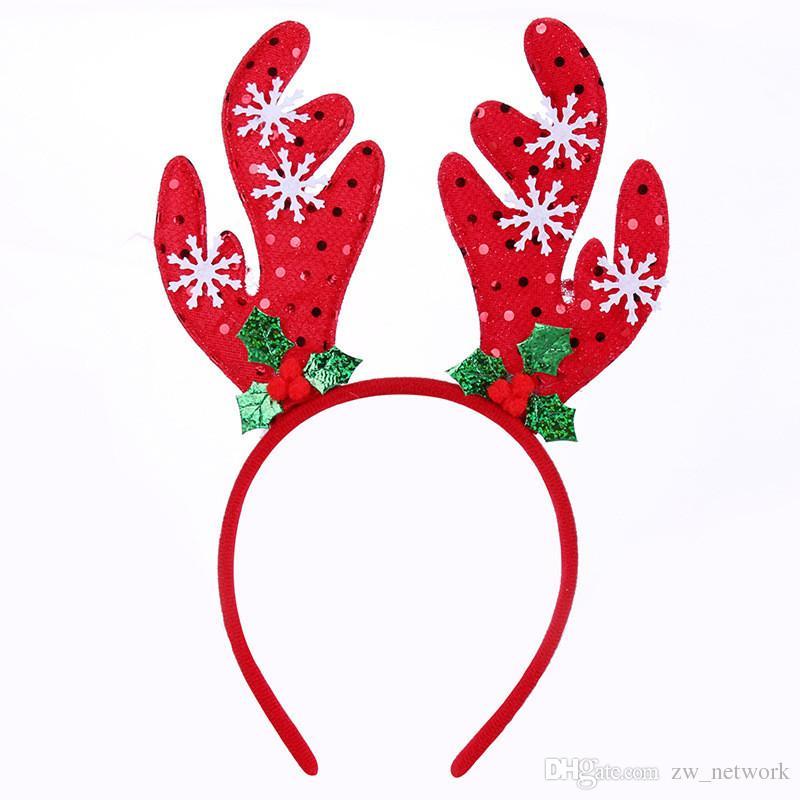 Großhandel Deer Head Hoop Weihnachtsfeier Haarband Santa Claus Bell ...