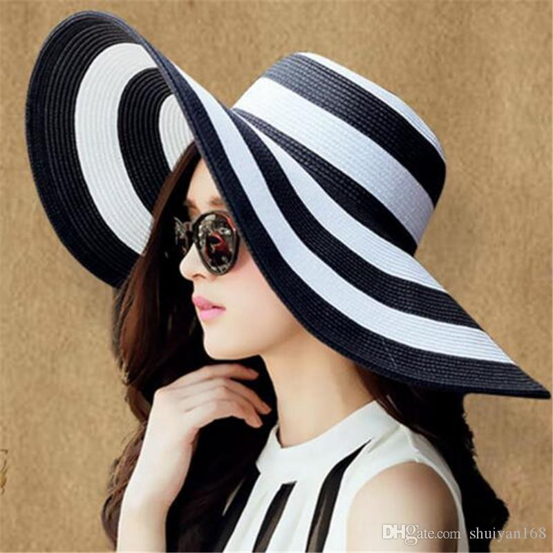 Summer Women S Beachwear Sun Hat Striped Straw Hat Church Floppy Big Brim  Beach Bucket Hat Korea Style Cool Hats Panama Hats From Agogogo c61224f29131