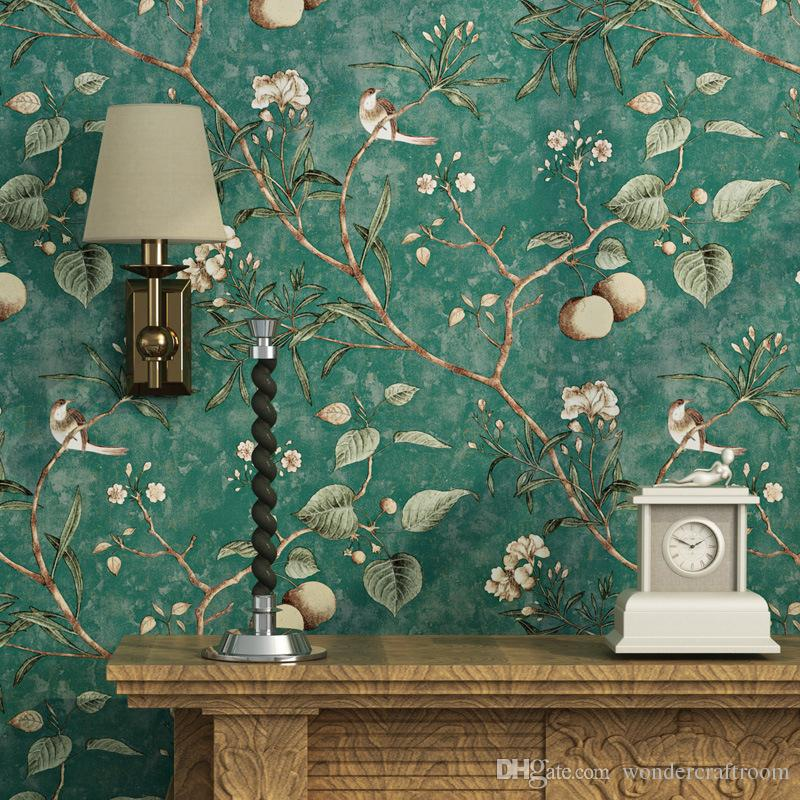 Fruit Tree Leaves Wallpaper American Country Pastoral Birds And Flowers  Wallpapers Vintage Retro Decorative Wall Paper Decal For Living Room