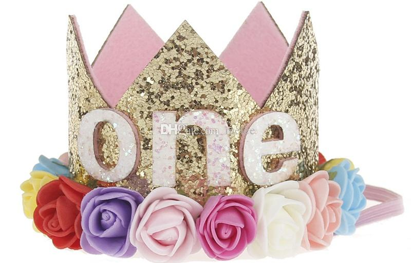 1st Baby Girls Crown Rainbow Flower Headbands Baby Girls Headband Glitter Gold Birthday Kids Hair Accessory Smash Cake Baby Birthday Hat