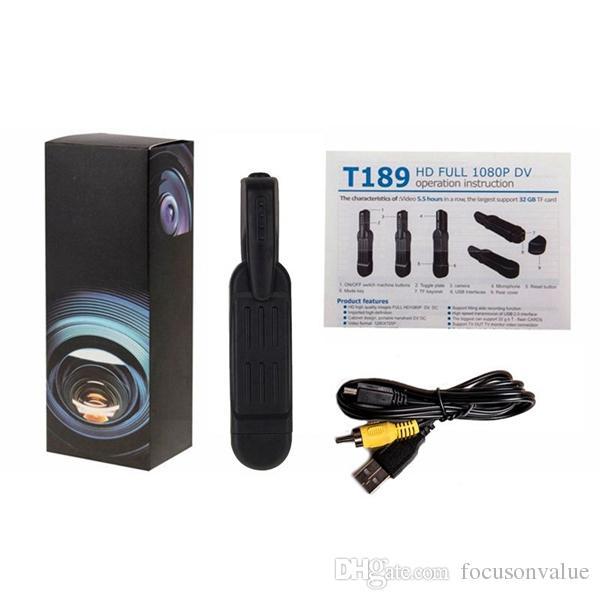 Full HD Mini DV Pocket Body camera with Clip mini Pen Camera Video recorder Police Camera mini Camcorder TV out black T189 dropshipping