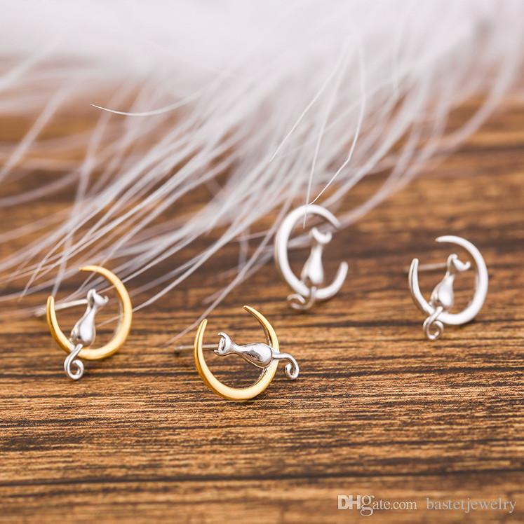 Newest Fashion 925 Silver Cat On The Moon Stud Earrings Gold Moon Kitty Earring Fashion Jewelry Valentine's Day Gift