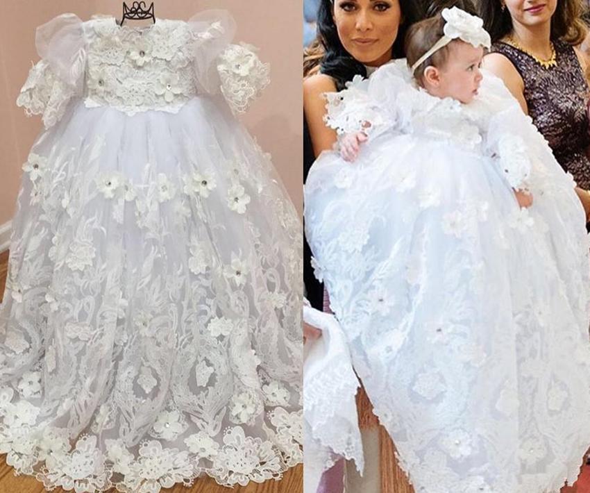 2017 Newborn 3d Appliqued Christening Dresses Long Sleeves For ...