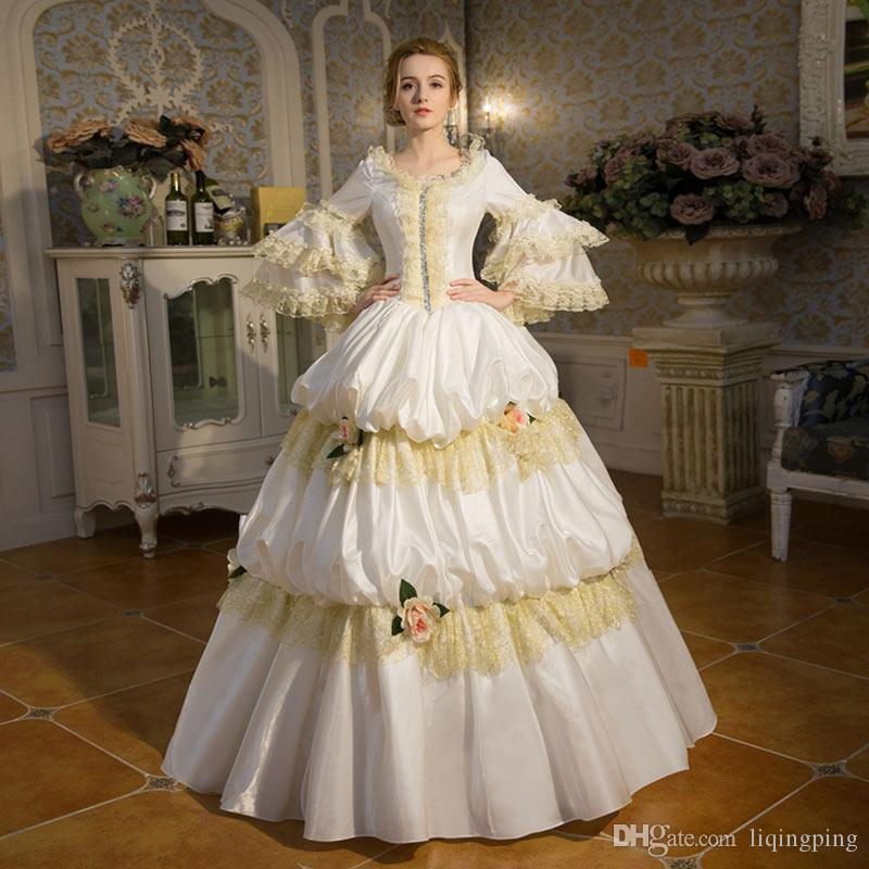 Hot Sale White Palace Rococo Baroque Marie Antoinette Party Dress ...