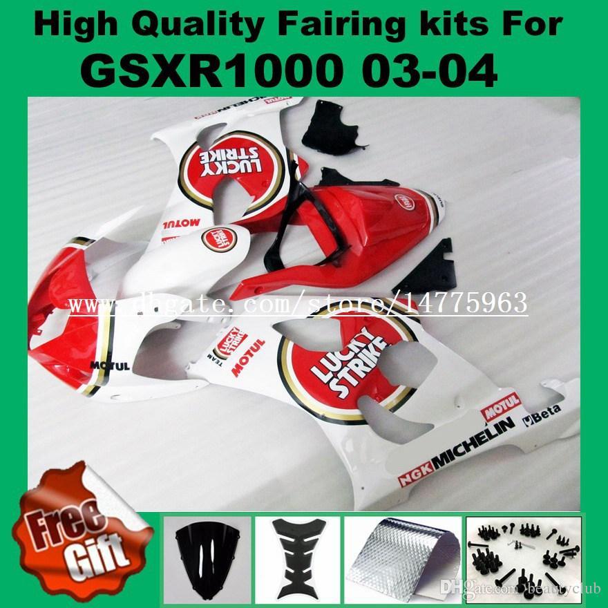 9Gifts, Kit de carenado de inyección para SUZUKI GSXR1000 2003 2004 GSX-R1000 03 04 Carenados GSXR 1000 03 04 K3 K4 rojo blanco LUCKY STRIKE