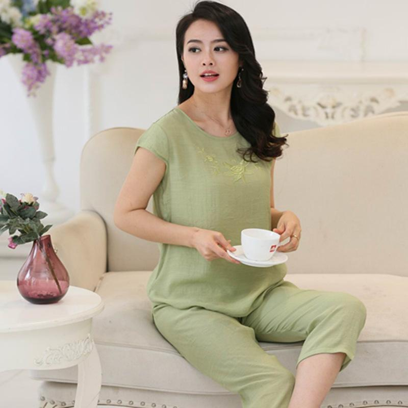 fa12b08b50eb Wholesale Good Quality Pajamas For Women Short Sleeve Pyjama Femme Plus  Size Ladies Pajamas Cotton And Linen Pijamas Mujer XL XXL XXXL 4XL UK 2019  From ...
