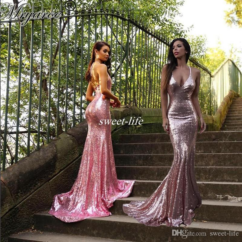 9d81f4fa834d Sparkled Rose Pink Sequined Mermaid Prom Dresses Spaghetti Straps Glitter  Open Back Sexy Long Evening Party Gowns Bridesmaid Dress 2017 Prom Dresses  America ...