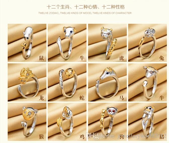 925 حلقة شخصية البرج الدائري أزياء فتح الفم خاتم قابل للتعديل عالية الجودة ذيل / الكثير = 12p جيم