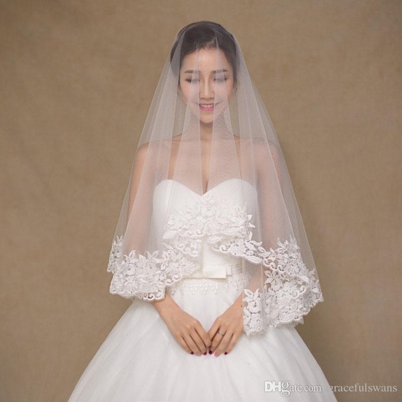 Accessori matrimoni Decorazione 1.5m Veils Bridal Vels Avorio Veil Veil Bordo di pizzo Velos De Novia Long Church Veil