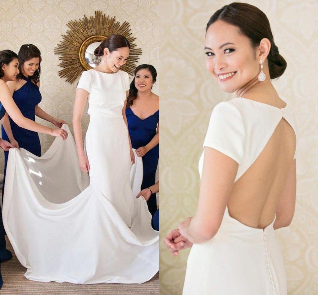 Simple Long Wedding Dresses 2018 Sheath Short Sleeve Open Back Wedding Gowns Summer Beach Bride Dresses Abiti Da Sposa