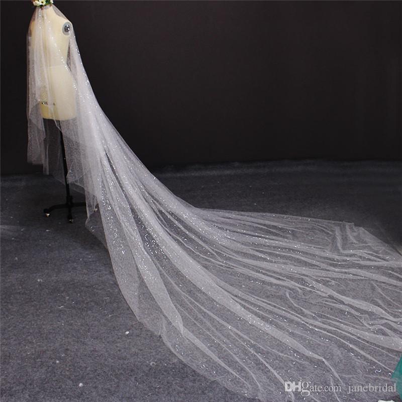 Nuovo arrivo One Layer 4 Metri paillettes Tulle Cut Edge Velo da sposa lungo Accessori da sposa di alta qualità 7001