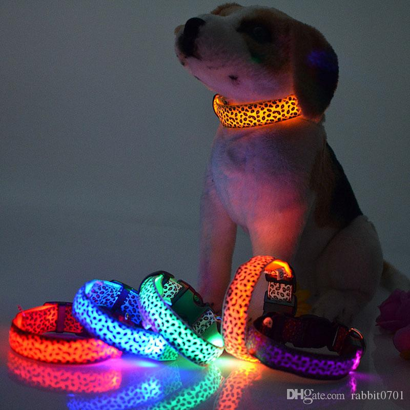 Adjustable Leopard LED Lights Glow Pets Collars,Nylon Pet Dog Cat Night Safety Luminous Flashing Necklace Pet Supplies S-XL