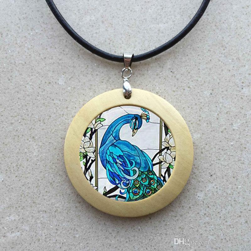 Blue Peacock Photo Pendant Choker Necklace Men Women Peacock Necklace Peacock Pendant Bird Jewelry Bird Necklace