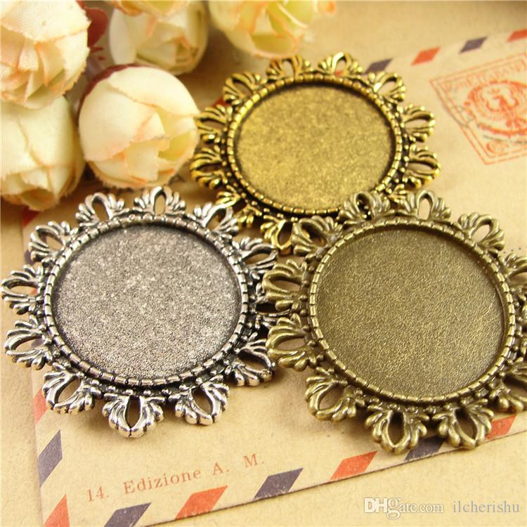 Passen Sie 25MM Round Rom Brosche Pin Metall stempeln blank Tablett, Vintage Antik Bronze Anhänger Basis, tibetische Silber Lünette Cameo Cabochon Einstellung