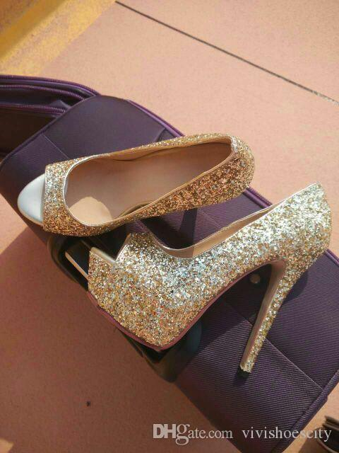 Plus Size 40 41 42 43 Bridal Wedding Shoes Gold Silver White Glitter Sequined Stiletto Pumps