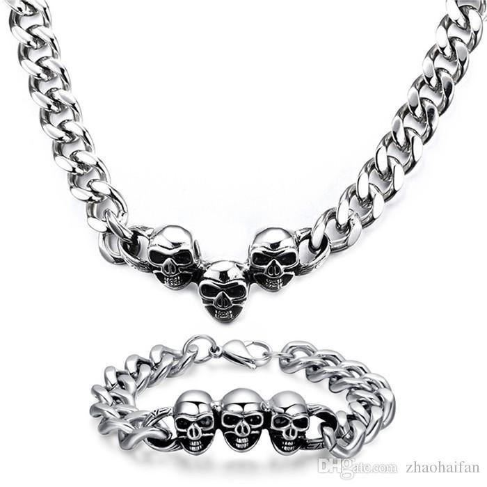 ZHF JEWELRY Domineering Skull head necklace bracelet set Top precision steel Birthday present bracelet jewelry Link Chain