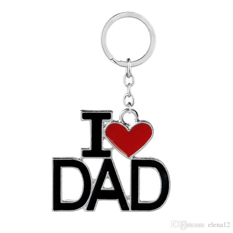 2017 New Keychain With Letters I Love PAPA MAMA DAD MOM Red Love Heart Key Ring Chains For Father's Day Mother's Day Gift 170802