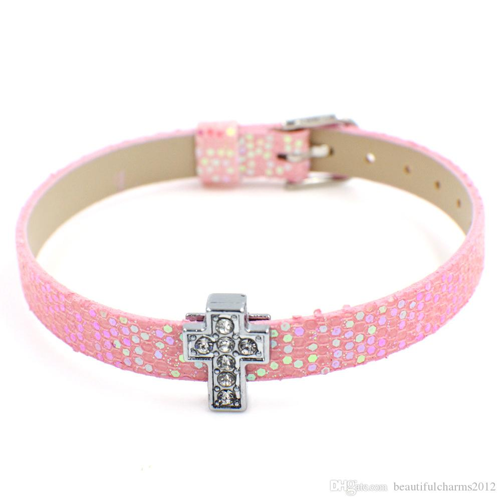 Großhandel 8mm breit 21 cm Länge 100 teile / los Shiny Pu-leder Armband Armband Fit Für DIY Zubehör Diabuchstaben