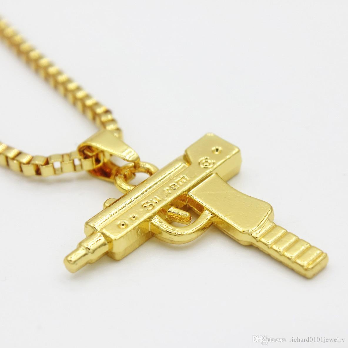 Wholesale hot sale hip hop necklaces engraved gun shape uzi golden wholesale hot sale hip hop necklaces engraved gun shape uzi golden pendant high quality necklace gold chain popular fashion pendant jewelry gold jewelry aloadofball Images