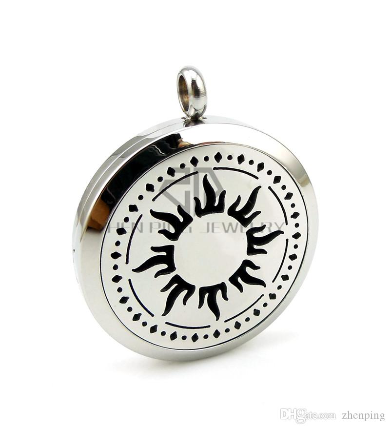 With Chain as Gift! Round Silver Sun 30mm Essential Oils Diffuser Aromatherapy Lockets Perfume Pendant Necklace