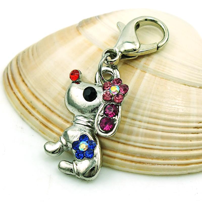 الأزياء العائمة المشبك جراد البحر سحر الفضة مطلي متعدد الألوان حجر الراين كلب الحيوانات قلادة diy مجوهرات اكسسوارات