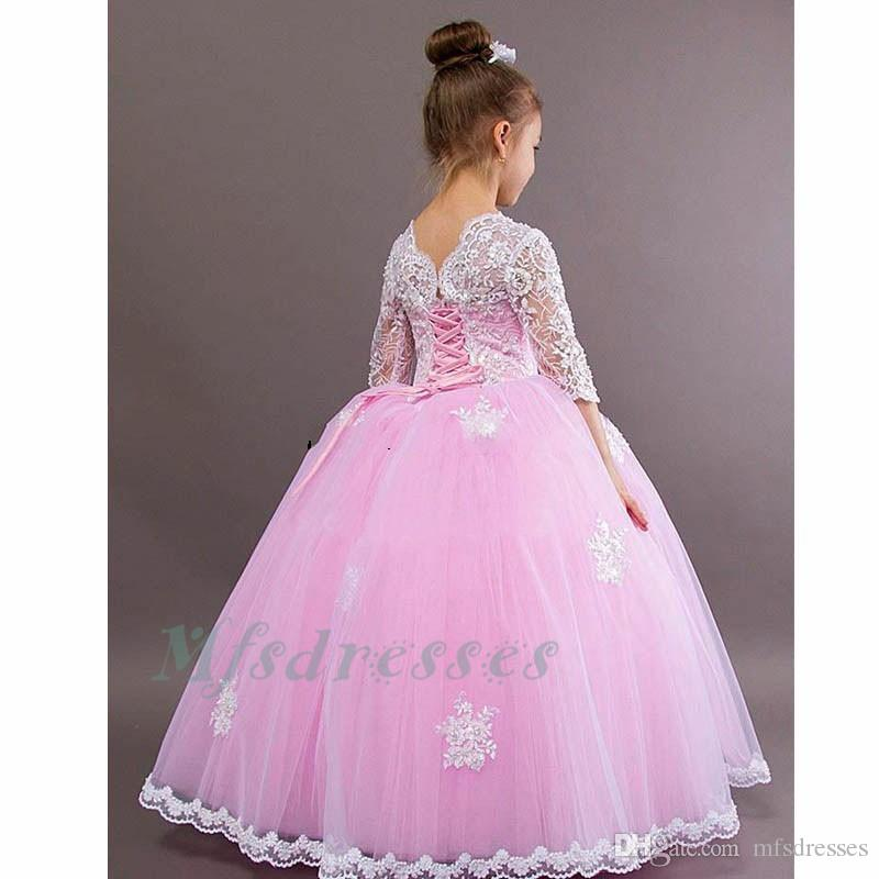 2017 New Flower Girl Dresses Pink Three Quarter Sleeves Ball Gown Scoop Girls Birthday First Communion Dresses Mother Daughter Dresses