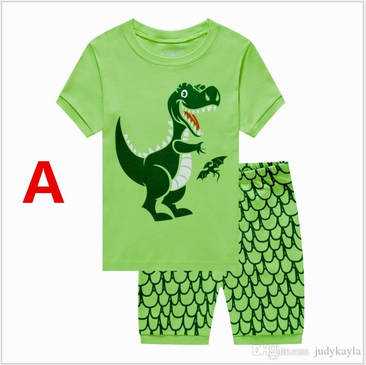 70d3f4a2823 New Boys Summer Clothes Lovely Dinosaur Short Sleeve T-shirt+Shorts Set  Children s Casual Pajamas Kids Clothing Outfits Boy Home Wear Boys Dinosaur  Clothes ...