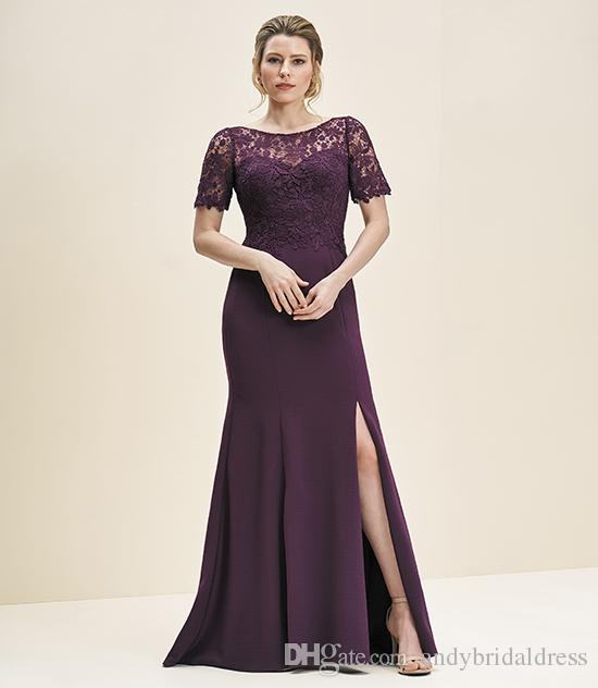 Dark Grape Elegant Short Sleeves Lace Top Mother Of The Bride Dresses Sheer Neck Split Front Sexy Long Mother's Dresses