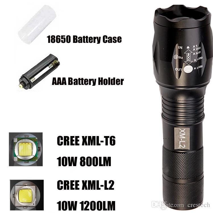 Lampe de poche CREE LED CREE XM-L T6 L2 La lampe de poche zoomable en aluminium a mené la lumière de la torche pour 18650 batterie rechargeable ou AAA