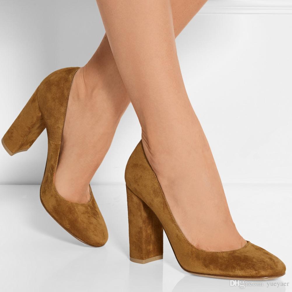 Zandina Ladies Handmade Fashion Thick Block Heel Closed Toe High Heel Party Office Pumps Shoes Brown K396