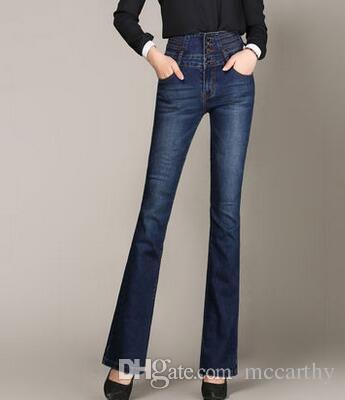 Pantalon évasé pour les femmes, plus la taille jeans denim occasionnels minceur bouton pleine longueur printemps automne nouvelle mode bleu noir taille haute yyf0614