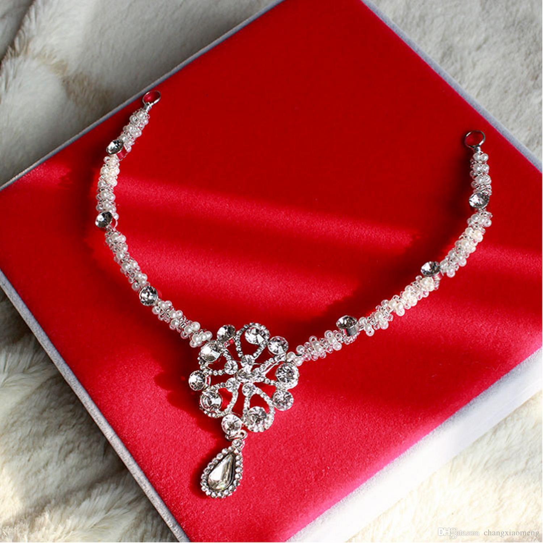 Vintage Sopracciglia Capelli Diademi Perle di perle Di cristallo Handmade Brida Crown Tiara Wedding Pezzi di capelli Accessori fronte In Stock Fiore