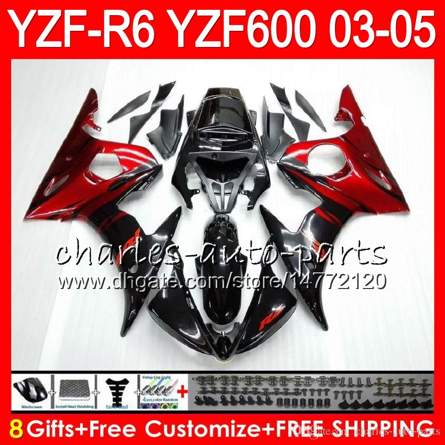 8Gifts Body For YAMAHA YZF600 YZFR6 03 04 05 YZF-R600 56HM3 red flames YZF R 6 YZF 600 YZF-R6 YZF R6 2003 2004 2005 Fairing kit