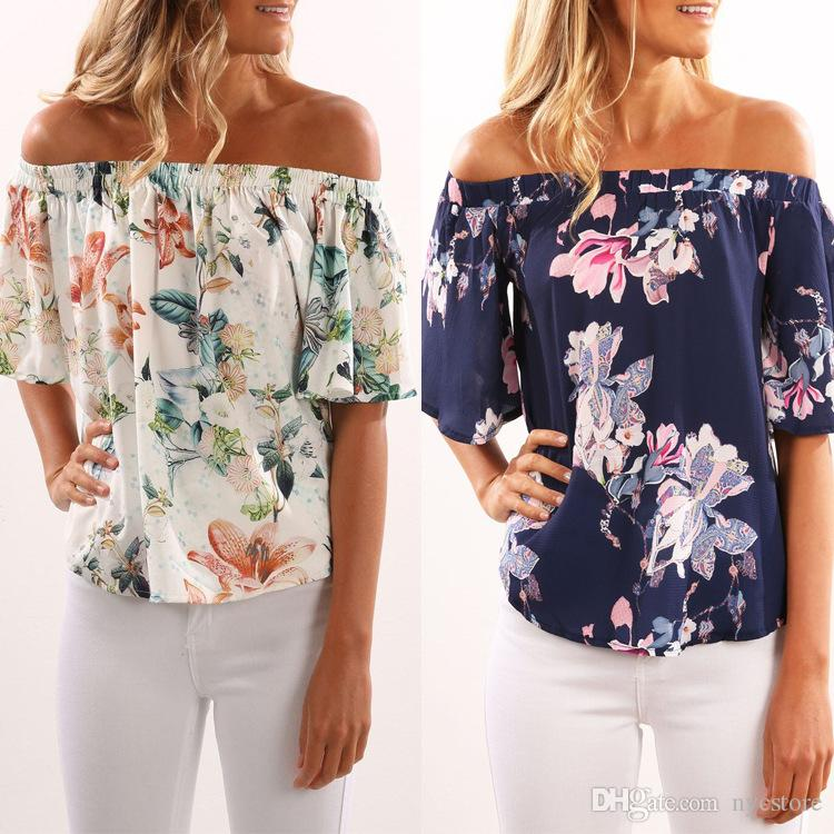 70d6dc2162e Fashion Sleeveless Women Off Shoulder Floral Printed Slash Neck ...