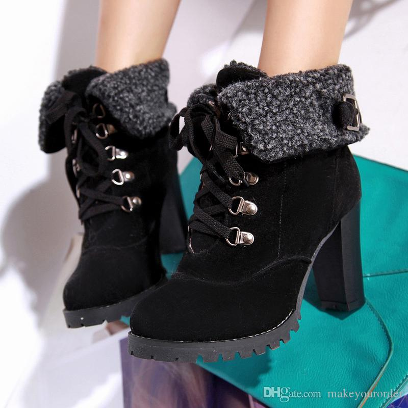wholesaler factory price autumn style VIV magazine lamb wool high heel ankle boot women boot shoes
