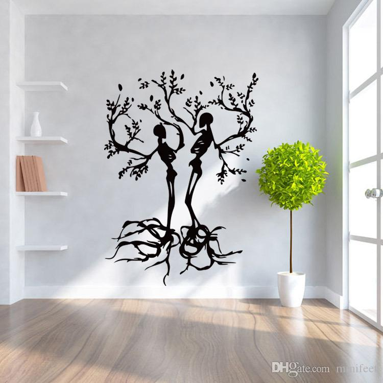57*80cm Halloween Skulls Wall Stickers Waterproof Removable Interior Background Decorative Stickers Arts PVC Wall Mural Decals