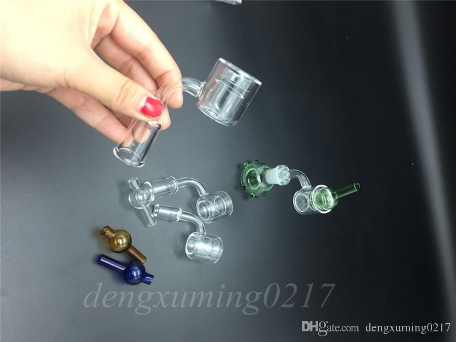 alta qualità Set di 2 XXL Quartz Thermal Banger + Tappo in carb colorato vetro Double Tube Quartz Thermal Banger Nail PukinBeagle termico P Banger