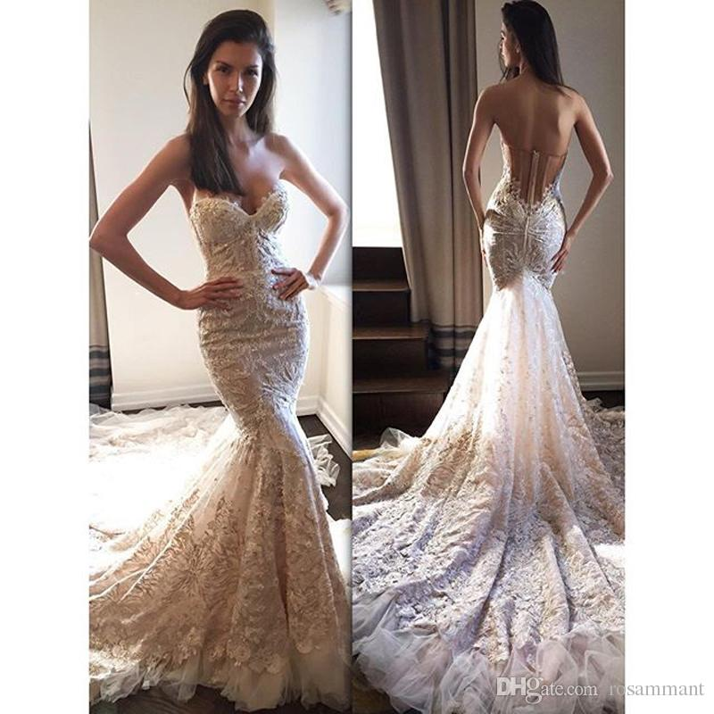 2017 New Fashion Vestido De Noiva Embroidered Lace On Net Off The Shoulder  Backless Wedding Dress Sweetheart Mermaid Bridal Gown Backless Mermaid  Wedding ... f7d635baf60d