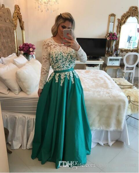 Blanc et bleu royal robes de bal manches longues 2017 longueur de plancher dernier 2016 robes de soirée robes en dentelle pour des occasions spéciales 2k15