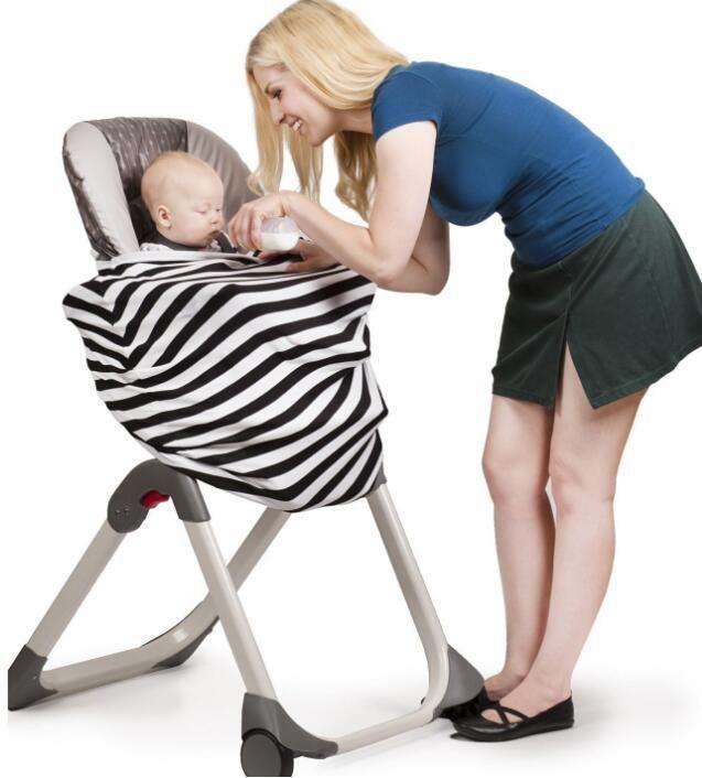 2017 Nuevo Diseño de Uso Múltiple Elástico de Algodón de Lactancia del Bebé Lactancia Privacidad Cobertura Manta de la Bufanda Raya Infinito Bufanda de Bebé Asiento de Coche